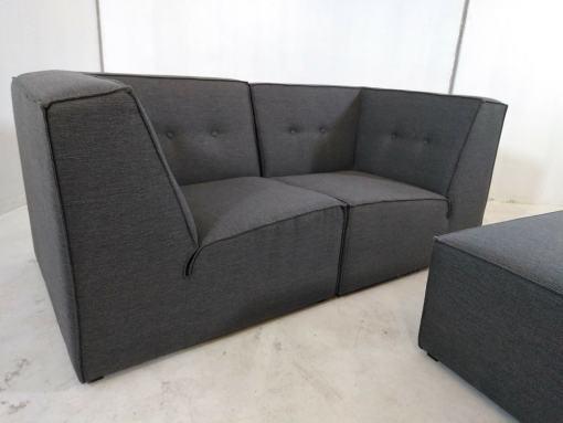 Sofá economico modular economico (2 plazas) de color gris más puf - Modules