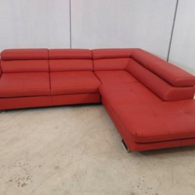 Sofá esquinero cama de piel auténtica con desperfectos - Fabio