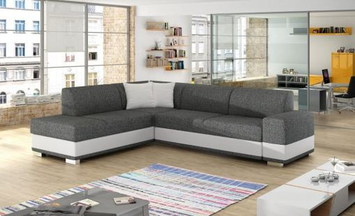 Modern Corner Sofa Bed with Cushions (Left Corner) - Barbados. Light Grey Fabric