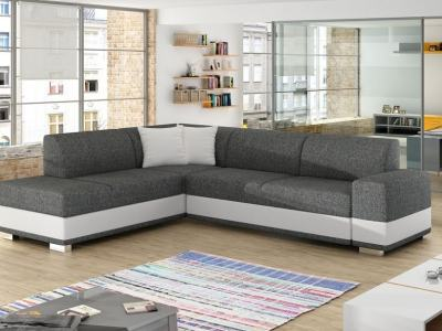 Modern Corner Sofa Bed with Cushions (Left Corner) - Barbados