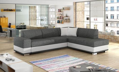 Modern Corner Sofa Bed with Cushions (Right Corner) - Barbados. Grey Fabric