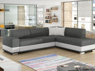 Modern Corner Sofa Bed with Cushions (Right Corner) - Barbados. Grey Fabric