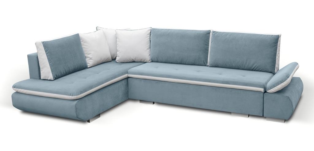Large Blue Corner Sofa Bed with Cushions - Bondi - Don Baraton