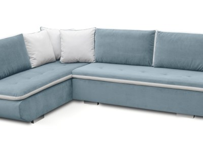 Large Blue Corner Sofa Bed with Cushions (Left Corner) - Bondi
