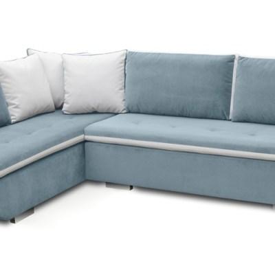 Sofá rinconera cama de color azul con cojines (esquina izquierda) - Bondi
