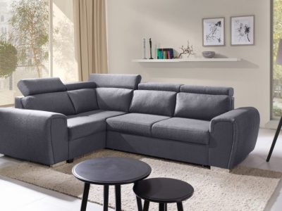 Grey Fabric Corner Sofa with Bed and Reclining Headrests (Left Corner) - Bali