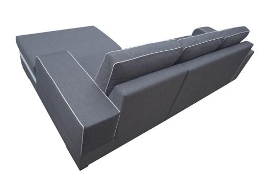 Tapizado en tela detras. Sofá chaise longue cama gris con arcón - Bermuda