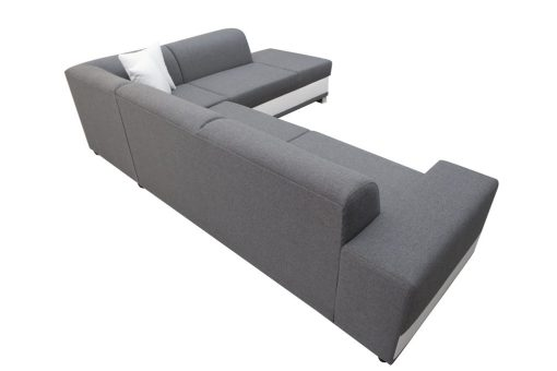 Outer Backrest Upholstered in Grey Fabric. Modern Corner Sofa Bed with Cushions - Barbados