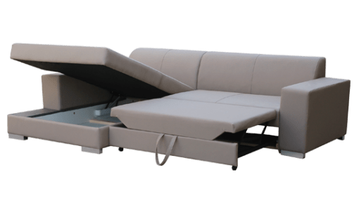 Storage. Grey Fabric Chaise Longue Sofa with Pull-out Bed - Maldives