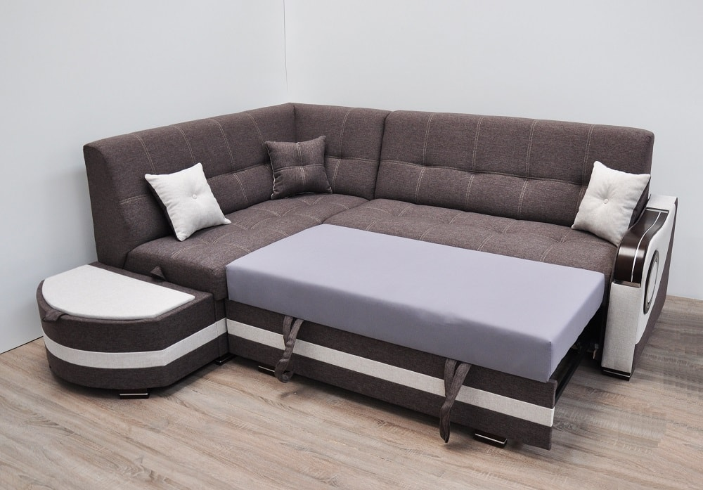 Corner Sofa With Pull-out Bed And 2 Storages