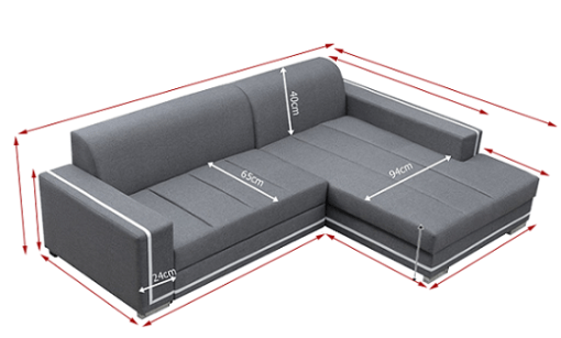 Dimensions. Sofa Bed with Spacious Chaise Longue - Caicos
