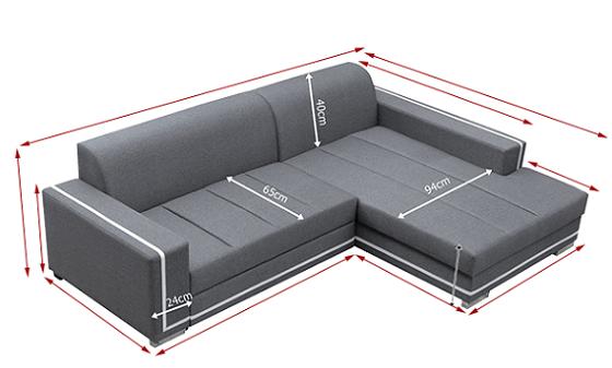 Sof cama con chaise longue grande caicos don baraton for Medidas de sofa cama