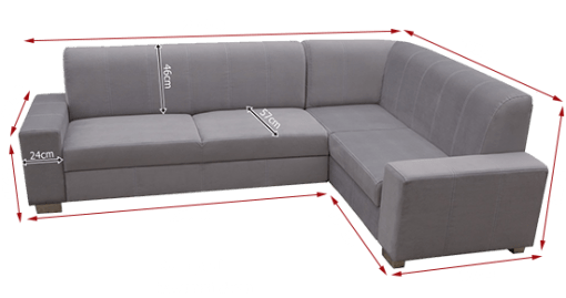 Dimensions. Corner Sofa Bed (4 Seater) with Pouffe - Sardinia