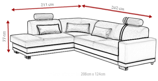 Dimensions. Corner Sofa with Pull-out Bed and Storage - Fiji