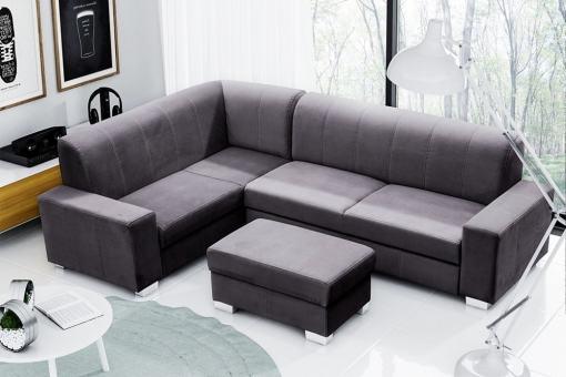 Sofá cama rinconera 4 plazas con puf. Color gris oscuro. Esquina izquierda - Sardinia