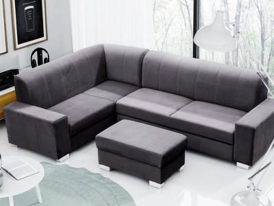 Corner Sofa Bed (4 Seater) with Pouffe. Dark Grey Colour. Left Corner - Sardinia