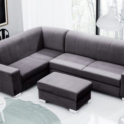 Corner Sofa Bed (4 Seater) with Pouffe. Dark Grey Colour. Left Corner - Sardinia
