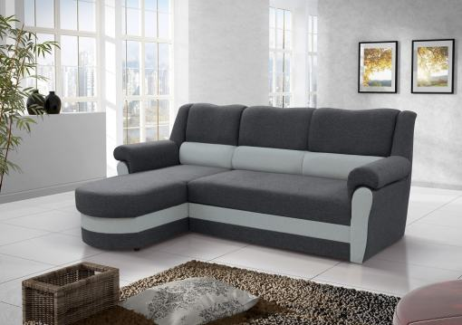 Chaise Longue Sofa Bed with High Backrest (Left Corner) - Parma. Grey Fabric