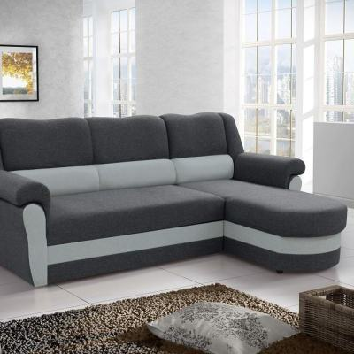 Chaise Longue Sofa Bed with High Backrest (Right Corner) - Parma. Grey Fabric