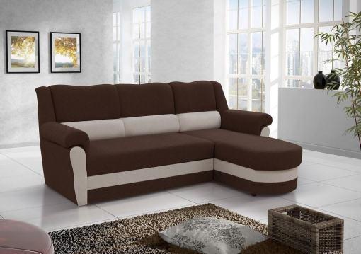 Sofá chaise longue cama alto respaldo con arcón. Tela de color marrón. Esquina derecha - Parma