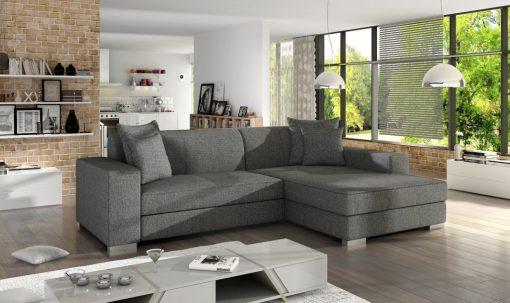 Dark grey fabric minimalist chaise longue sofa bed (right corner) - Maldives
