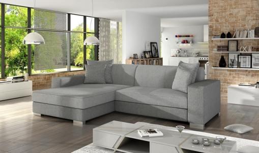 Chaise Longue Sofa Bed with Storage - Maldives. Light Grey Fabrics. Left Corner