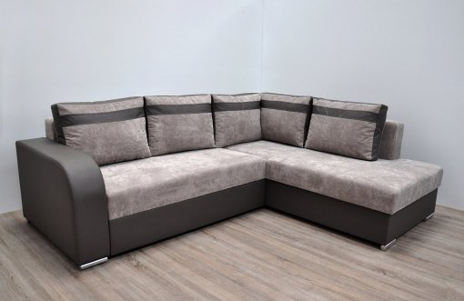 Modern Corner Sofa with Pull-out Bed and Storage (Right Corner) - Bologna