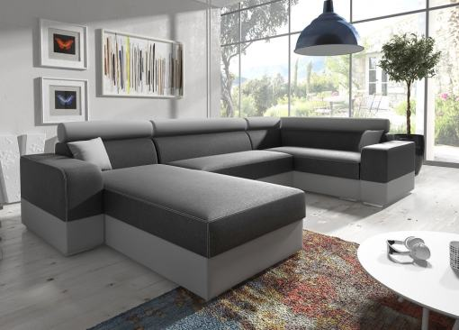 Spacious U-shaped sofa with pull-out bed - Milan. Right corner. Grey fabric