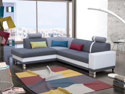 Corner Sofa with Pull-out Bed and Storage. Grey Fabric and White Synthetic Leather. Left Corner - Fiji