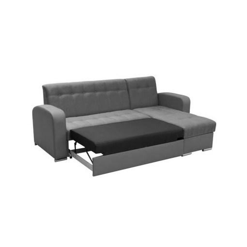 Cama del sofá chaise longue cama con arcón gris y blanco - Salerno