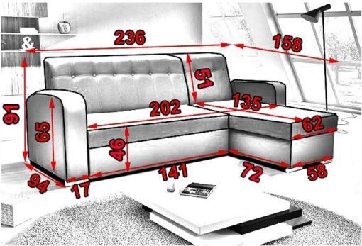 Medidas. Sofá chaise longue cama con arcón - Salerno