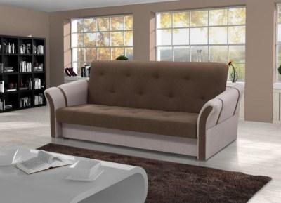 Sofá cama plegable Siena. Combinación de colores - muna 6 (marrón oscuro) + muna 2 (beige)