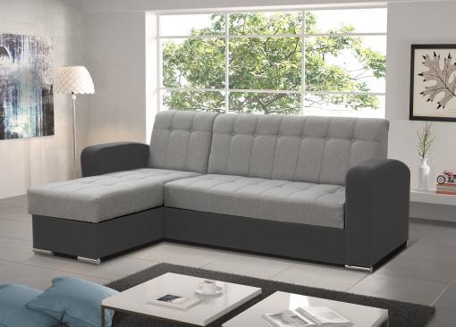 Sofá chaise longue cama con arcón gris claro y gris oscuro. Chaise Longue izquierda - Salerno