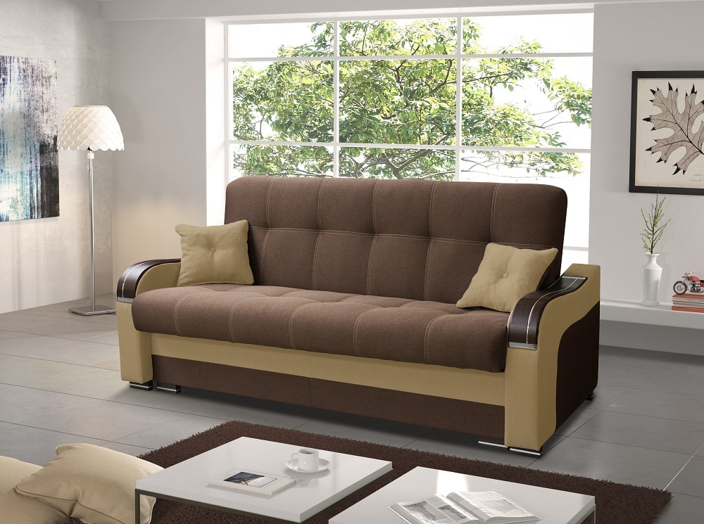 Fabric Folding Sofa Bed. Dark Brown Fabric And Beige Faux Leather   Sorrento