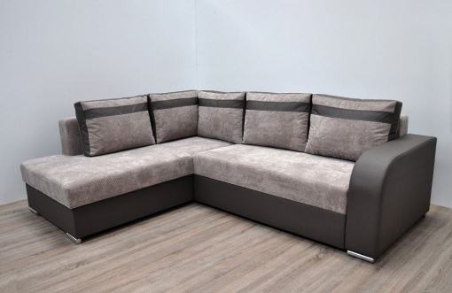 Modern Corner Sofa with Pull-out Bed and Storage (Left Corner) - Bologna