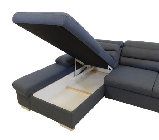 Storage Compartment. Chaise Longue Sofa Bed with Reclining Headrests - Capri