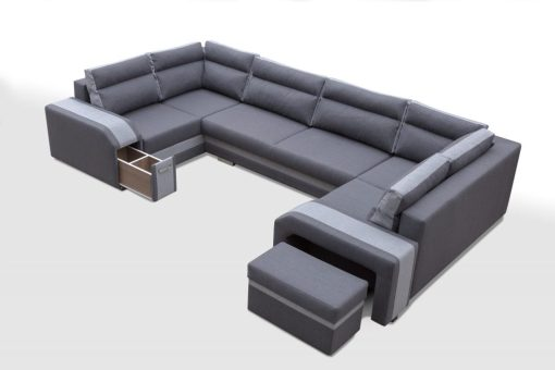 Pouffe with Storage. Spacious U-shaped Sofa Bed with 3 Storages - Baia