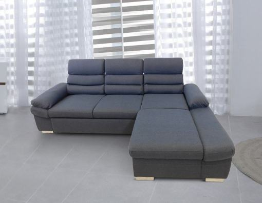 Chaise Longue Sofa Bed with Reclining Headrests - Capri. Grey Fabric, Right Corner