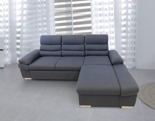 Sofá chaise longue cama con arcón y reposacabezas reclinables. Tela gris, chaise longue derecha - Capri