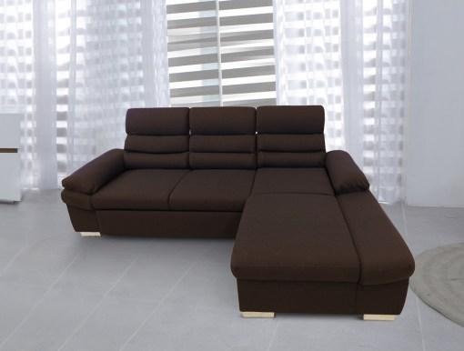 Sofá chaise longue cama con arcón y reposacabezas reclinables. Tela marrón, chaise longue derecha - Capri