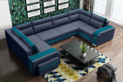 Spacious U-shaped Sofa Bed with 3 Storages - Baia. Grey and Blue Fabrics. Left Corner.