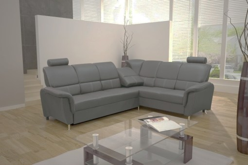 Sofá rinconera cama con reposacabezas reclinables. Color gris claro. Esquina derecha - Navagio