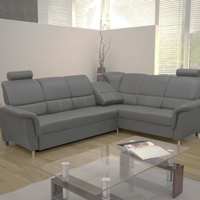 Corner Sofa Bed with Reclining Headrests - Navagio. Grey Fabric. Right Corner
