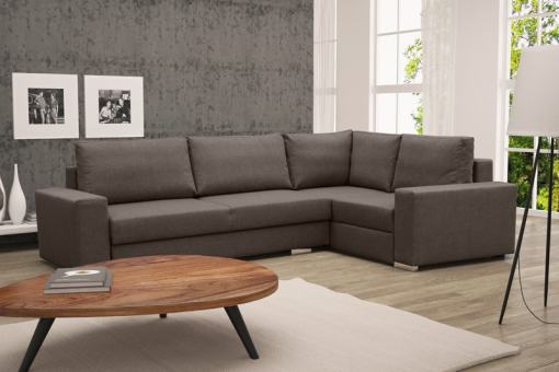 Corner Sofa with Folding Bed and Storage - Harbour. Brown Fabric, Right Corner