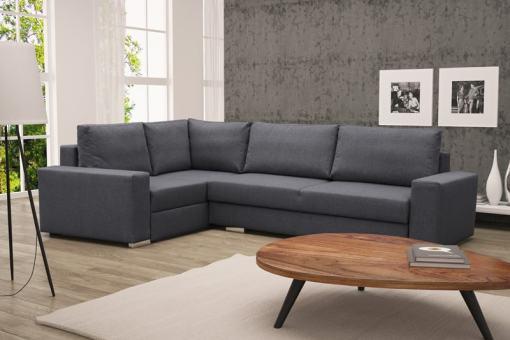 Sofá rinconera con cama plegable, esquina izquierda, color gris oscuro – Harbour