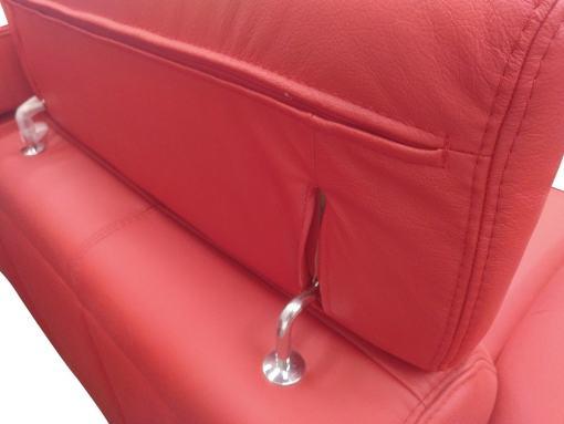 Reposacabezas reclinables. Sofá rinconera en piel auténtica de color rojo - Verona