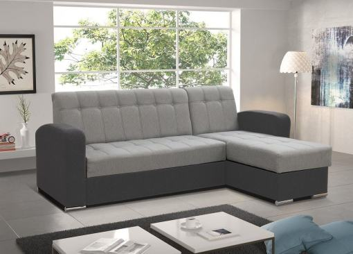 Light Grey / Dark Grey Style. Right Corner. Chaise Longue Sofa with Pull-Out Bed and Storage - Salerno