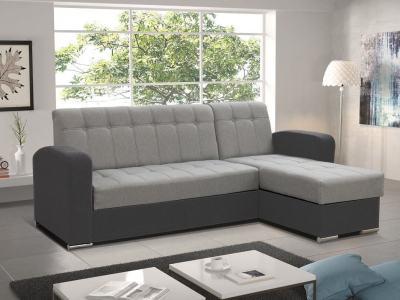 Sofá chaise longue cama con arcón gris claro y gris oscuro. Chaise longue derecha - Salerno