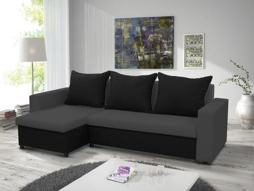 Sofá chaise longue cama con arcón. Chaise longue lado izquierdo. Color gris y negro - Turin