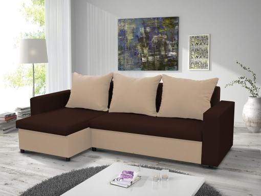 Раскладной диван-кровать с двумя ящиками для хранения - Turin. Угол слева. Коричневая и бежевая ткани